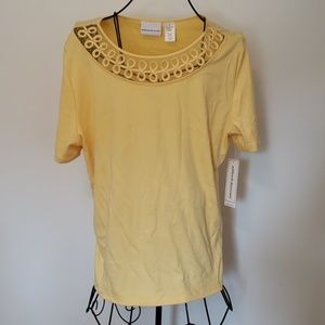 NWT Alfred Dunner Yellow Short Sleeve Blouse